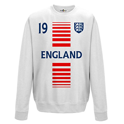 Felpa Girocollo Uomo Nazionale Sportiva Inghilterra England 19 Calcio Europa Stemma2 KiarenzaFD Streetwear Arctic White
