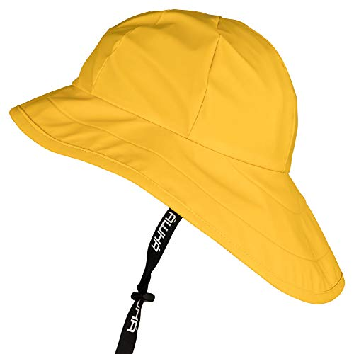 AWHA Südwester Regenhut gelb/Unisex - Wasserdichte Mütze mit breiter Krempe und...