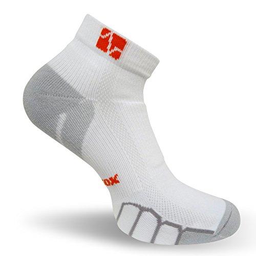 VitalSox Run und Fun Low Cut Italian Plantar Kompression Performance Socken, vt0210, Damen Mädchen Jungen herren, weiß, Large (2-wege-stretch-socke)