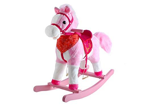 Schaukeltier Schaukelpferd Interaktiv + Musik Plüsch Kinder Spielzeug #4585, Farbe:Rosa