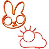 Set of 2 - Lagfly Silicone Non Stick Egg and Pancake Mold Egg Ring Egg Poacher – Bunny & The Cloud Pattern