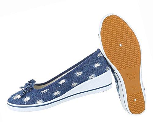 Damen Schuhe Pumps Keil Wedges Blau Blau