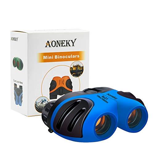 Aoneky Compact Mini Gummi 8x 21Kinder Fernglas für die Vogelbeobachtung, Best Christmas Geschenke für Kinder, empfohlen für Jungen Alter 3bis 11Jahre alt, blau
