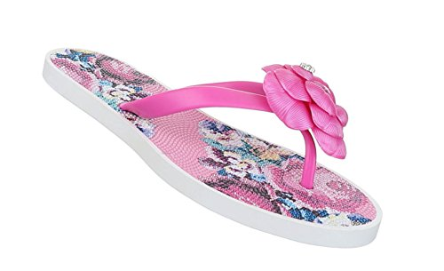Damen Sandalen Schuhe Sommerschuhe Strandschuhe Zehentrenner Schwarz Pink Türkis Blau Weiß 36 37 38 39 40 41 Pink
