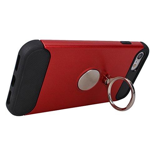 Armatura Cover per iPhone 7 / 8, Asnlove 2 in 1 Caso Antiurto Protettiva TPU Silicone Custodia con Staffa Anello Cassa può Essere Assorbito dal Magnete Case Supporto Girevole, Rosso Rosso