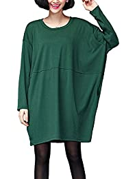 ELLAZHU Femme Style De Base Solide Col Ras-Du-Cou Poches Large Chemise Robe GA65