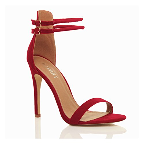 Femmes talon haut à peine là cheville lanières boucle fête soirée sandales pointure Rouge daim