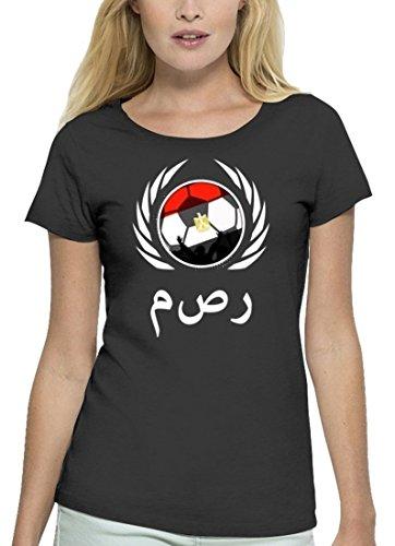 ShirtStreet Egypt Wappen Fussball WM Premium Fanfest Damen T-Shirt Bio Baumwolle Stanley Stella Fußball Ägypten Anthrazite