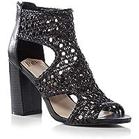 cef235bf6a6 Faith Womens Black Net 'Leave' High Block Heel Sandals