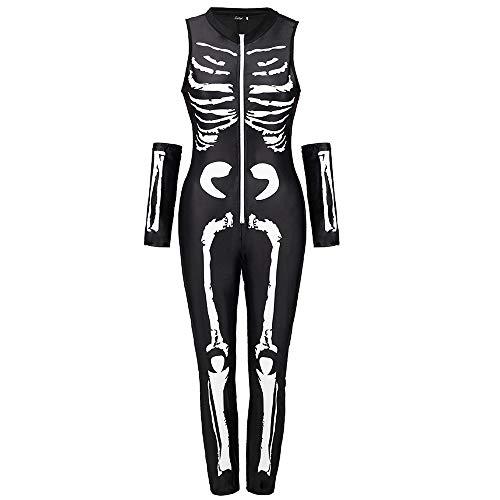KDSANSO Halloween Kostüm Damen Vampir,Women's Spandex Printed Glow-In-The-Dark Skeleton Catsuit,Weiße L