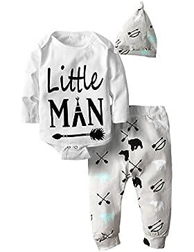 Big Elephant 3 Stück Baby Jungen Bodysuit Langarm Top Hosen Kleidung Set mit Hut H30
