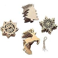 Lot de 20 pcs Decoration Sapin Noel Bois Embellissement Flocon de Neige - Octogone - elk - sapin