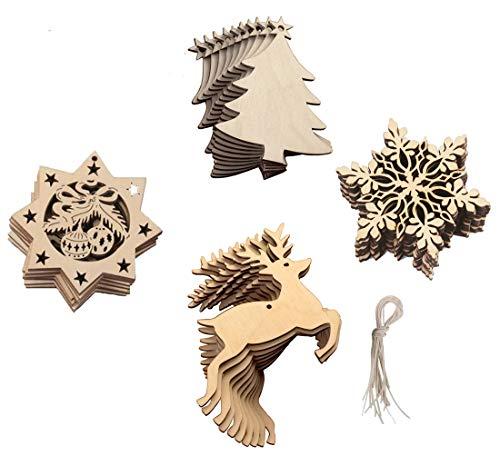 20 Stück Holz Christbaumschmuck set Weihnachtsbaumschmuck Kleine Weihnachtsanhänger Deko Ø ca.8 Cm