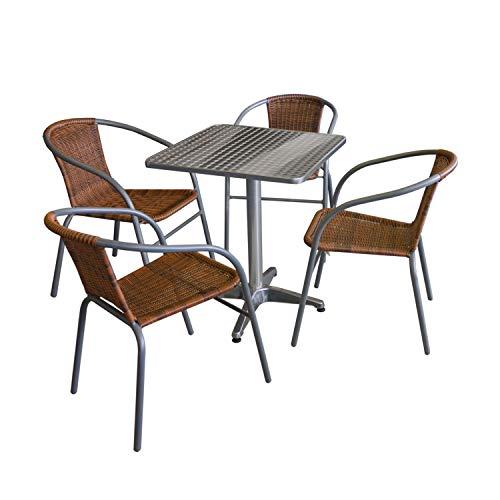 Wohaga 5tlg. Bistro- und Balkongarnitur Tisch 60x60cm Silber + 4 Polyrattan-Stapelstühle Grau/Cappuccino Gartengarnitur Balkonmöbel Terrassenmöbel Set Sitzgruppe -
