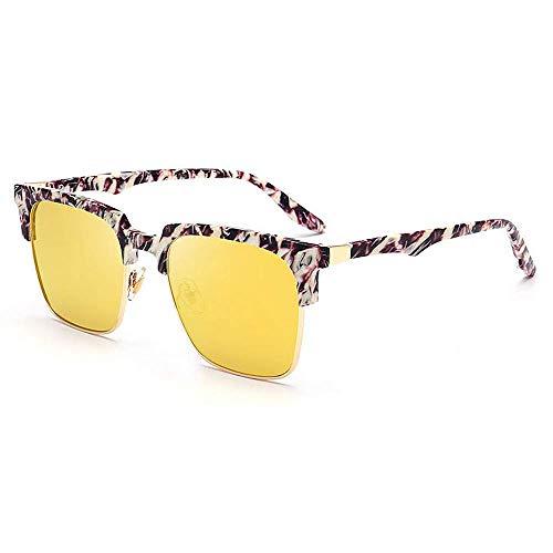 XHCP Frauen-Klassische Sonnenbrille Big Square Semi-Rimless Flower Frame Sonnenbrille UV-Schutz für das Fahren im Freien Reisen Sommer Strand (Farbe: Gold)
