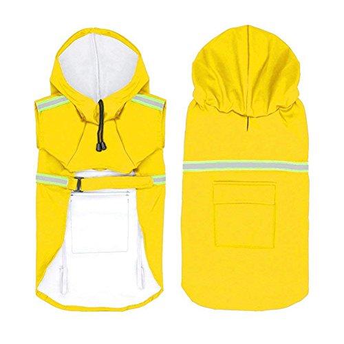 Kostüm Müllsack - Trifycore Außen Einstellbare Dog Raincoat Haustier-Welpen-Licht Regen Poncho wasserdichte Jacke mit reflektierenden Streifen an einem regnerischen Tag XL-gelb, Zubehör für Hunde