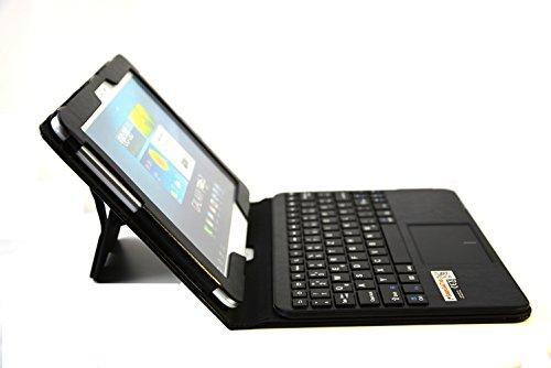 SonnyGoldTech - Galaxy Tab 10.1 oder Galaxy Tab2 10.1 Tasche mit Bluetooth Tastatur und integriertem Touchpad   ultra schmale und herausnehmbare Tastatur mit Touchpad ideal für Galaxy Tab 2 10.1 P5100 P5110 und Galaxy Tab 10.1 P7500 P7510 P7511   Deutsches Layout   Schwarz