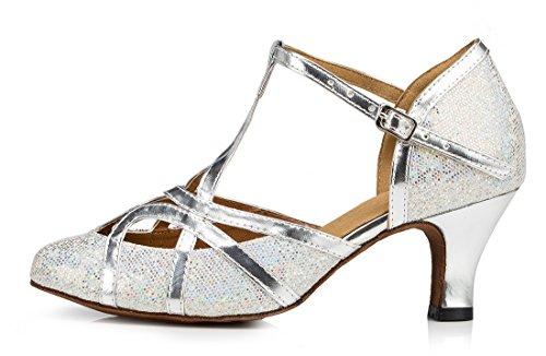 F&M Fashion ,  Damen Durchgängies Plateau Sandalen mit Keilabsatz 6cm Glitter Silver