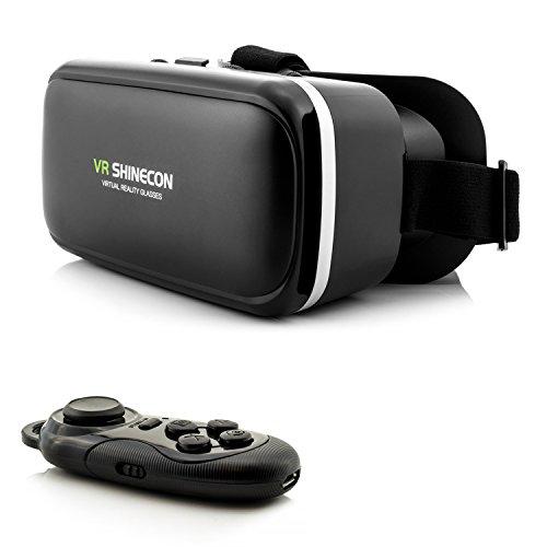3D VR Brille - Virtual Reality 3D Brille + Bluetooth Controller in Schwarz | VR Headset für Ihr Handy zum Abspielen von 3D Filme, VR-Movies, VR-Games, 360 Grad Spiele - Kompatibel mit Android & iOS - 4,7 bis 6 Zoll Smartphones von Samsung Galaxy S9 S8 (Plus) | Apple iPhone X 8 7 (Plus) | Huawei P20 P10 Lite | Sony Xperia XZ2 XZ1 XZ X | HTC 10 U11 (Plus) One M9 Desire 10 Pro | Google Pixel | LG Q6 G6 | Microsoft