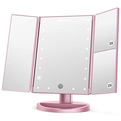 Homever makeup specchietto da trucco con 21 luci led, 3x / 2x ingrandimento specchio per trucco illuminato con touch-screen, rotazione libera a 180 °, doppio alimentatore (oro rosa)