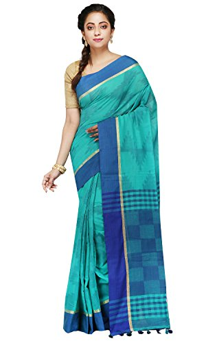 B3Fashion Handloom Traditional Bengal Soft Khadi Saree (Blue)