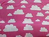 Stoffreste, Stoffe, Jerseystoffe, Jersey, Wolken blau, Wolken pink, Wolken grau