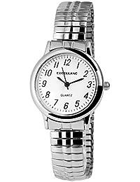 Excellanc llanc Mujer Reloj con cordón plata metal blanco clásico elegante cuarzo analógico reloj de pulsera