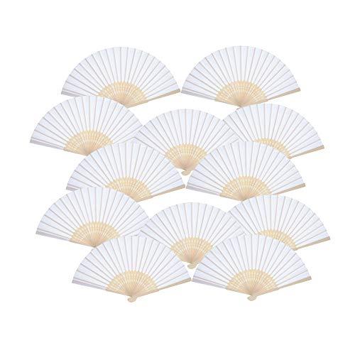 Ventilatori tenuti in Mano da 12 Pezzi, ventagli Pieghevoli in bambù di Seta Ventaglio Piegato a Mano per Regalo di Nozze della Chiesa, bomboniere, Decorazione Fai da Te (Bianco)