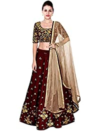 Panihari Fashion Women's Georgette Lehenga Choli (Red and popaty lengha choli _Red_ Free Size)