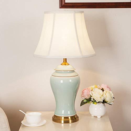 Moderne jingdezhen keramik tischlampe wohnzimmer schlafzimmer nachttischlampe europäischen hotel modell zimmer, falten trompete -