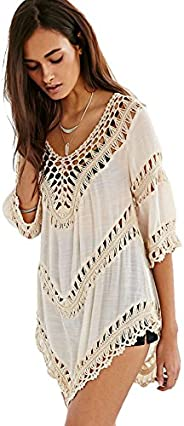 Vanbuy Women's Boho V Neck Crochet Tunic Tops Blouse Shirt Hollow Out Beach Swimsuit Cover up