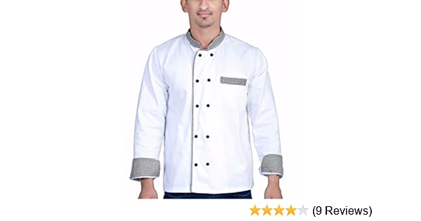 Aurum Creations Men's White Chef Coat Check Piping Contrast (Large(40))