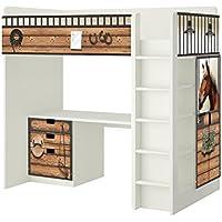 Preisvergleich für Pferdestall Möbelfolie - SH13 - passend für die Kinderzimmer Hochbett-Kombination STUVA von IKEA - Bestehend aus Hochbett, Kommode (3 Fächer), Kleiderschrank und Schreibtisch - Möbel Nicht Inklusive | STIKKIPIX