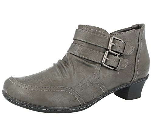 Antonia Dolfi Ladies 225313 Faux Leather Double Buckle Low Block Heel Pixie Ankle Boots Size 3-8