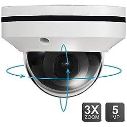 5MP PoE IP PTZ Kamera Outdoor 3X optischer Zoom, IP Überwachungskamera IR Nachtsicht wetterfest, Fernbewegungserkennung, kompatibel mit Onvif Hikvision
