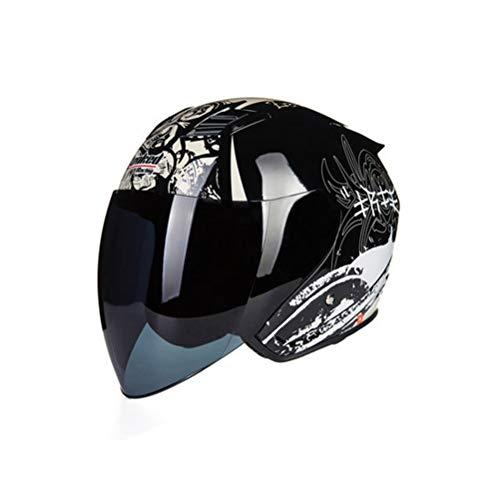 Casco moto mezza faccia, uomo donna doppia lente anti fog Protezione UV Casco moto moto maglia aerea impermeabile Motocross per bici elettrica, tutte le stagio