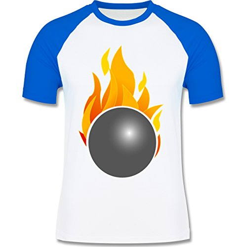 Bowling & Kegeln - Kegeln Kugel Flammen bunt - zweifarbiges Baseballshirt für Männer Weiß/Royalblau