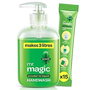 Godrej Protekt Mr. Magic Powder-To-Liquid Handwash 1 Bottle + 15 Refills (Makes 3 Litres), 99.9% Germ Protection