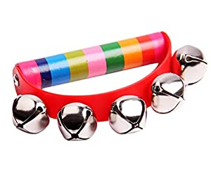 WeiMay Wooden Tambourine Handbell Baby Kids Early Educational Toys Games Christmas Round Hand Shaking Jingle Bell Musical Instrument for Baby Toddlers Over 6 Months(Random Color) by WeiMay