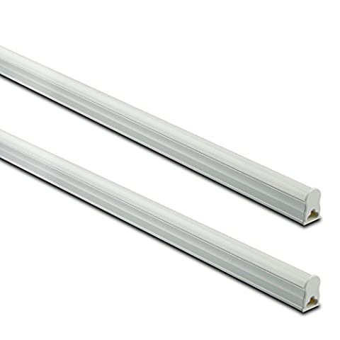 KVA LIGHTING Integrated T5 LED Tube Light with Fixture, Recessed Wall Dropped Ceiling Light, 1200mm 4ft, 13W, Bright 1100 Lumens, 4000K Natural Cool White - Pack of