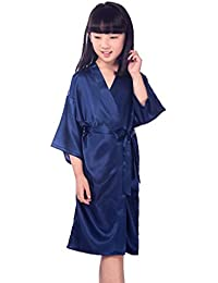 Hibote Flower Girls Raso Kimono túnicas Boda Dama de Honor Batas Albornoz para niños Ropa de