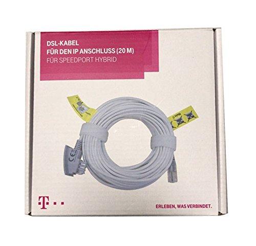 dslkabel 20m Original Telekom DSL Kabel | VDSL Kabel für IP Anschluss, Speedport Hybrid, Fritzbox | TAE-RJ45 Kabel für alle DSL / VDSL Router | 20m TAE Anschlusskabel Router DSL / VDSL | RJ45 zu TAE-F Stecker