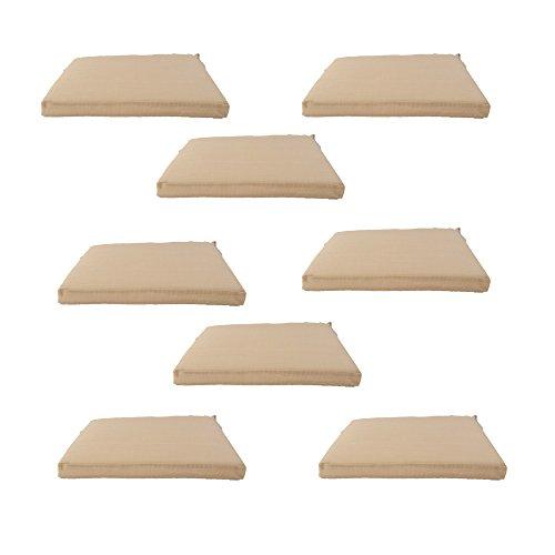 Edenjardi Pack 8 Cojines textilene para sillas de Exterior Color Arena, Tamaño 44x44x5 cm, Tela Antimanchas...