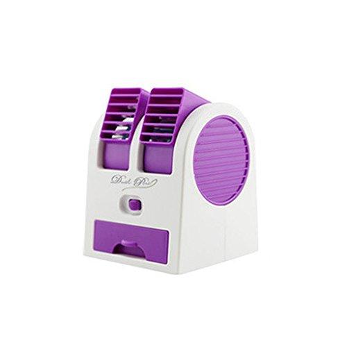 Mini Ventilador de Refrigeración Dual USB Aire Acondicionado Portátil de Escritorio -...