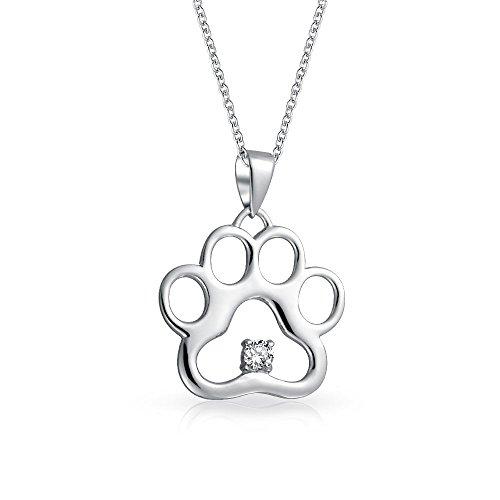 Hund Katze Hund Katze Pfotenabdruck BFF PET-Anhänger mit Halskette für Frauen CZ Akzent ()