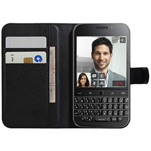 BlackBerry Classic Hülle, HualuBro [Standfunktion] [All Aro& Schutz] Premium PU Leder Wallet Tasche Schutzhülle Case Flip Cover mit Karten Slot für BlackBerry Classic Smartphone (Schwarz)