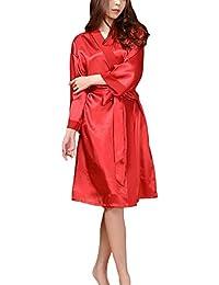 DELEY Mujeres Kimono Satén Seda Elegante Encantador Bata de Baño Albornoces Ropa de Dormir Camisón Loungewear Homewear