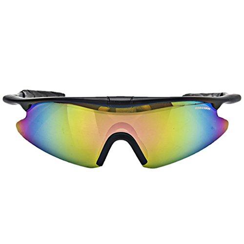 ROBESBON Polarisierte Fahrradbrille Outdoor Sportbrille Kunststoff Rahmen UV400 Sonnenbrille Brillenetui Brillenbeutel Radbrille - Schwarz Rahmen und Bunte Gläser