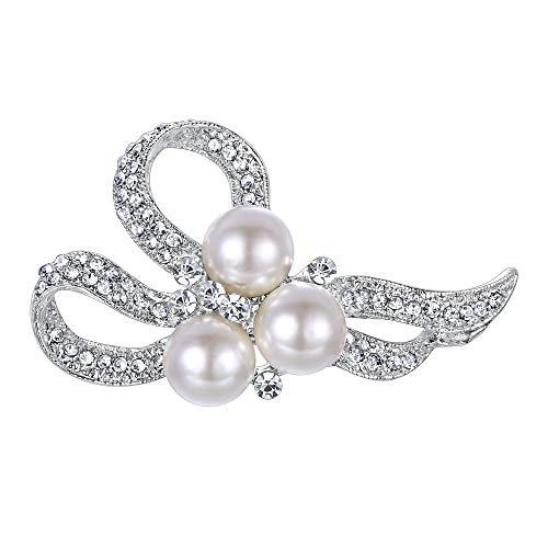 Ever Faith Damen Brosche Creme Kristall Simulierte Perle Hochzeit Braut Floral Bowknot Pin für Kleidung Klar Silber-Ton