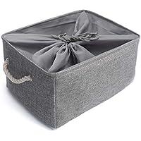 Mangata Cesta de Almacenamiento de Tela, Caja de Almacenamiento de Lona Engrosada Plegable con Asas de Cuerda para Ropa, Juguetes (Gris, Xxlarge)